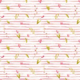 Une rayure aquarelle rose motif sans couture avec des coeurs fleurs feuilles branches tulipes pour fête invintation enfants décor textile design numérique scrapbooking carte fabrication papeterie étiquettes de fête