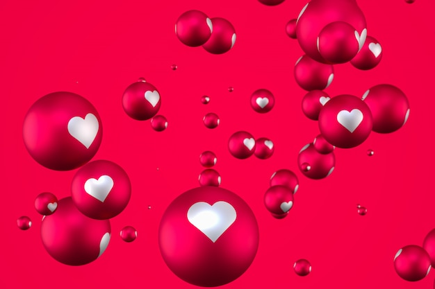 Réactions facebook coeur emoji rendu 3d sur fond rouge, symbole de ballon de médias sociaux avec coeur, carte happy valentines day