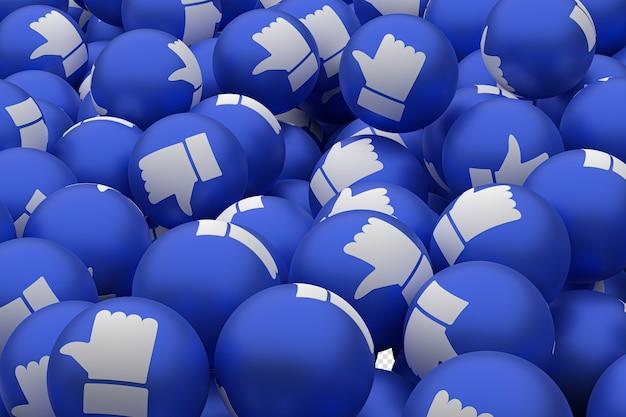 Réactions facebook comme emoji 3d render sur fond transparent