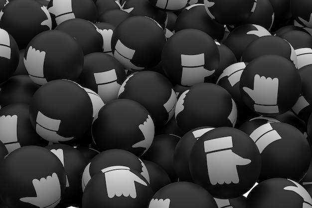 Réactions de facebook comme les médias sociaux emoji fond de rendu 3d, symbole de ballon de médias sociaux