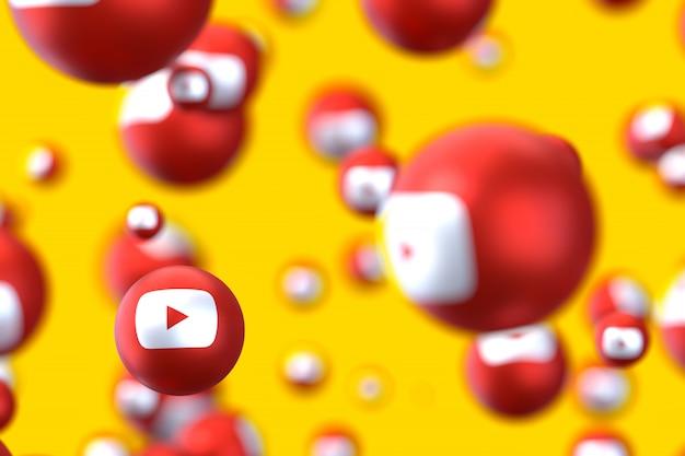 Réactions youtube emoji rendu 3d, symbole de ballon de médias sociaux avec motif d'icônes youtube