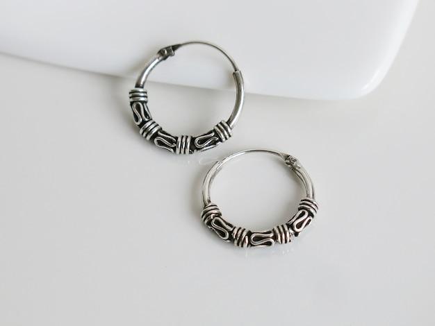 Real 9.25 silver boucles d'oreilles bali hoop noir oxydé