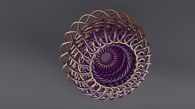 Réalité virtuelle, arrière-plan numérique. forme 3d dorée. illustration de science-fiction