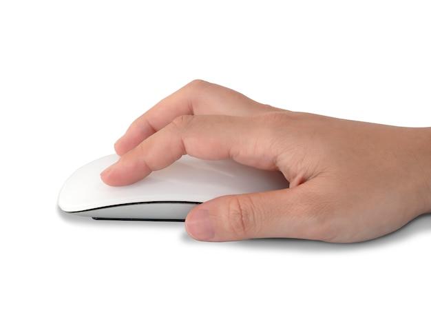Recadrer la main à l'aide du contrôle de la souris isolé sur blanc. chemin de détourage