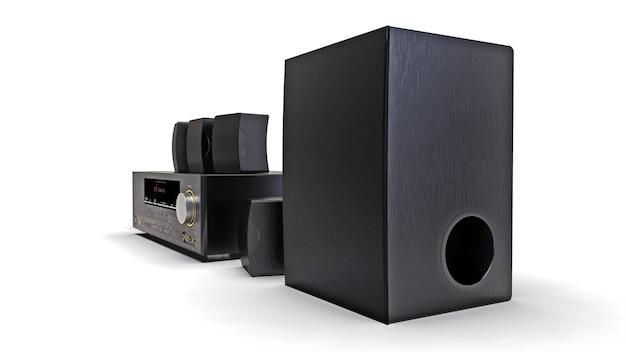 Récepteur dvd noir et système de cinéma maison avec haut-parleurs et caisson de basses. illustration 3d.
