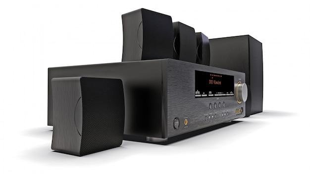 Récepteur dvd noir et système home cinéma avec haut-parleurs et caisson de basses