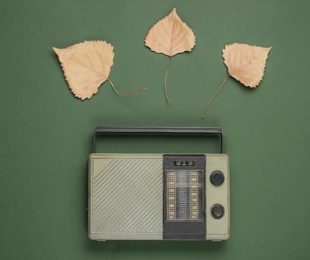 Récepteur radio fm rétro sur fond vert avec des feuilles d'automne tombées