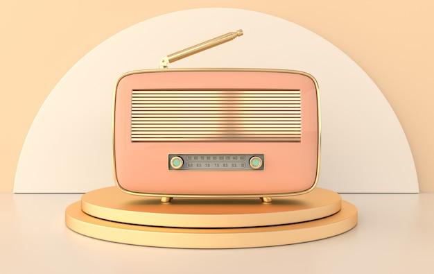 Récepteur radio de style vintage sur podium
