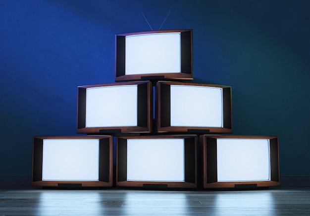 Récepteurs de télévision anciens brillants, 3d