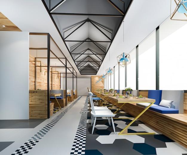 Réception loft et hôtel de luxe et restaurant café lounge vintage