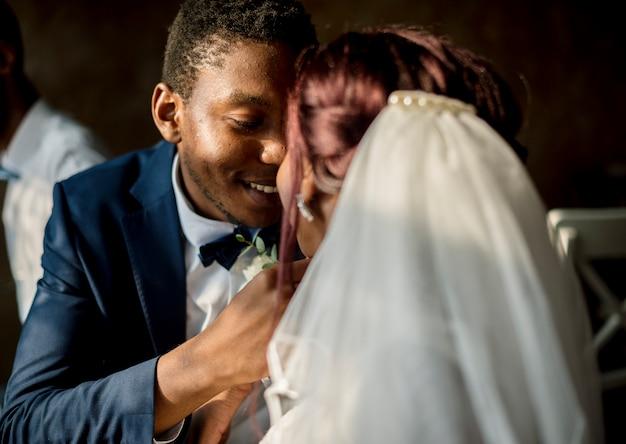 Réception de mariage pour jeunes mariés de descente africaine