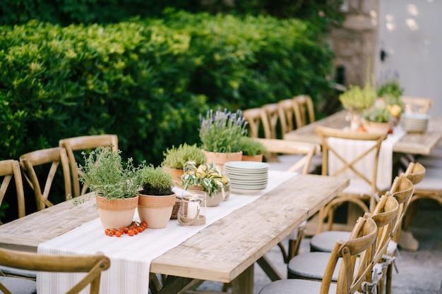 Réception de table de mariage au coucher du soleil à l'extérieur d'anciennes tables en bois rectangulaires avec chemin de chiffon