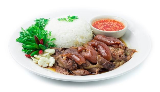Recette de jambon de porc cuit au riz. nourriture asiatique