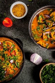 Recettes de cuisine indienne, omelette masala avec et curry d'oeufs masala omelette indienne, avec des légumes frais