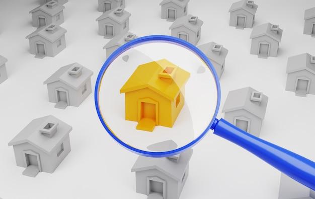 Recherche de concept de maison. illustration 3d.