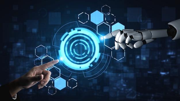Recherche sur l'intelligence artificielle ai du développement de robots et de cyborg pour l'avenir des personnes vivant