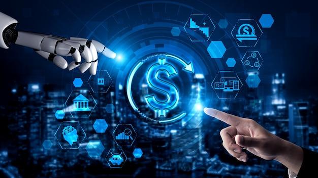 Recherche en intelligence artificielle de rendu 3d sur l'ia du développement de robots et de cyborg pour l'avenir des personnes vivant. conception de technologies d'exploration de données numériques et d'apprentissage automatique pour le cerveau de l'ordinateur.