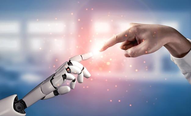 Recherche en intelligence artificielle de rendu 3d sur l'intelligence artificielle du développement de robots et de cyborg pour l'avenir des personnes vivant
