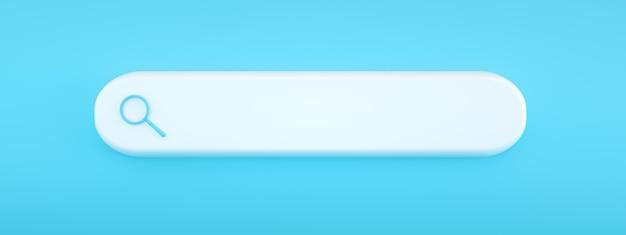 Recherche ou loupe en blanc, barre de recherche sur fond bleu, rendu 3d, image panoramique avec espace pour le texte