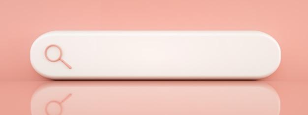 Recherche ou loupe en blanc, barre de recherche sur fond rose, rendu 3d, image panoramique avec un espace pour le texte