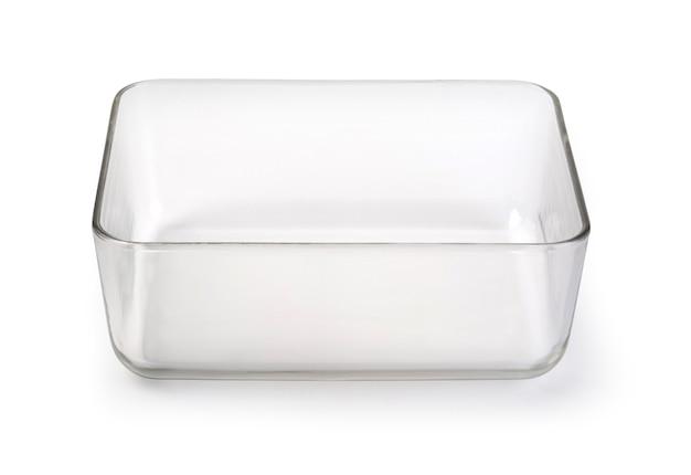 Récipient alimentaire en verre isolé sur blanc