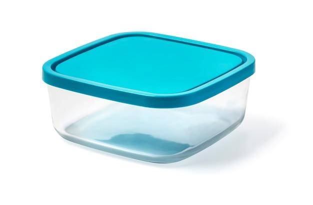 Récipient alimentaire en verre isolé sur fond blanc avec un tracé de détourage