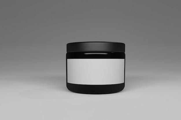 Récipient brillant noir avec une étiquette en papier blanc pour le texte ou le logo.