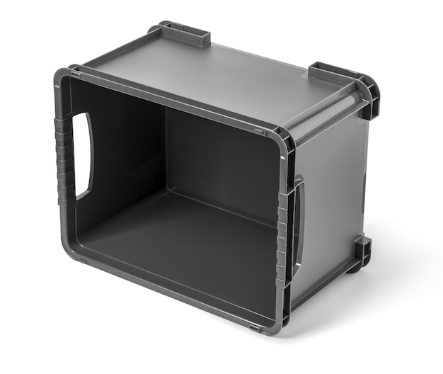 Récipient en plastique noir vide isolé sur fond blanc, avec un tracé de détourage