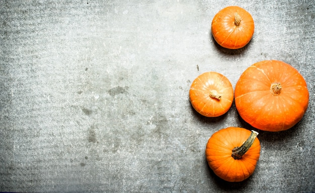 Récolte d'automne. citrouilles fraîches sur table en pierre