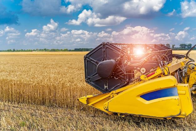 Récolte du blé d'été. la moissonneuse-batteuse de seigle de travail combine des machines sur des champs de blé d'or. moissonneurs sur les champs de blé d'or. récolte de blé mûr de paysage agricole