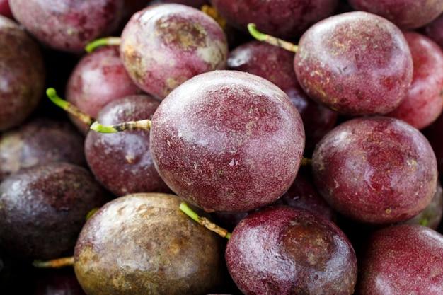 Récolte de fruits de la passion pourpres mûrs frais de la ferme
