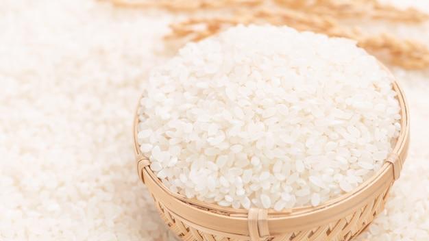Récolte de riz comestible poli blanc brut sur fond blanc dans un bol marron, concept de conception de l'agriculture biologique. aliments de base d'asie, gros plan.