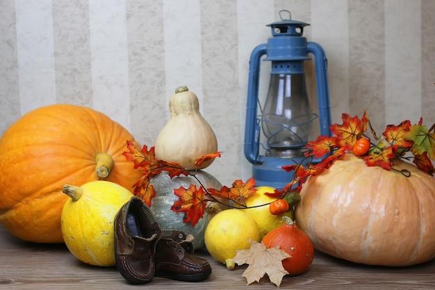 Récoltez la citrouille sur le sol avec une lanterne à bougie