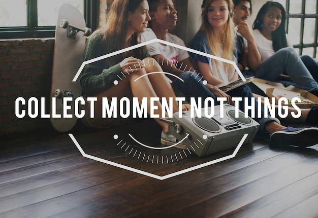 Recueillir moment vintage vector graphic concept