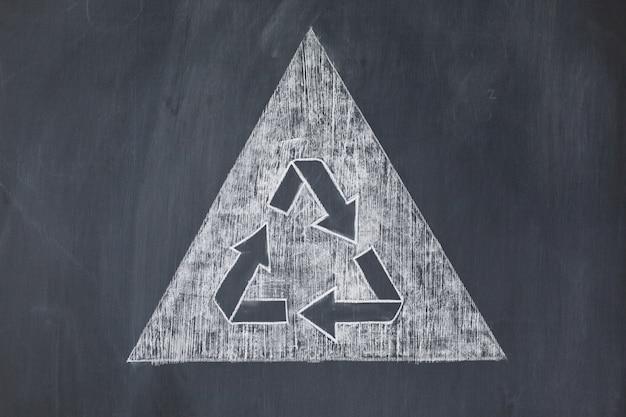 Recycler le symbole sur un fond blanc sur un tableau noir
