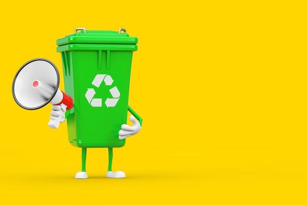 Recyclez la mascotte de caractère de poubelle verte de signe de poubelle avec le mégaphone rétro rouge sur un fond jaune. rendu 3d