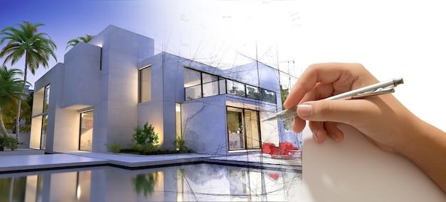 Rédaction à la main d'une villa design avec piscine et la maison devient réelle