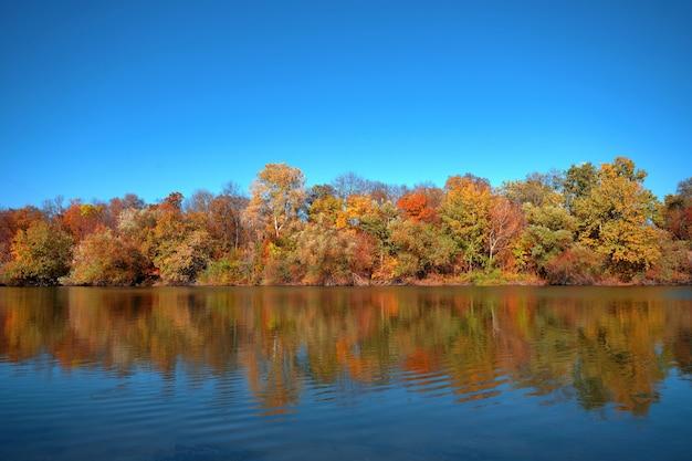 Reflet d'une belle forêt d'automne dans la rivière, dans le contexte d'un ciel bleu clair sans nuages