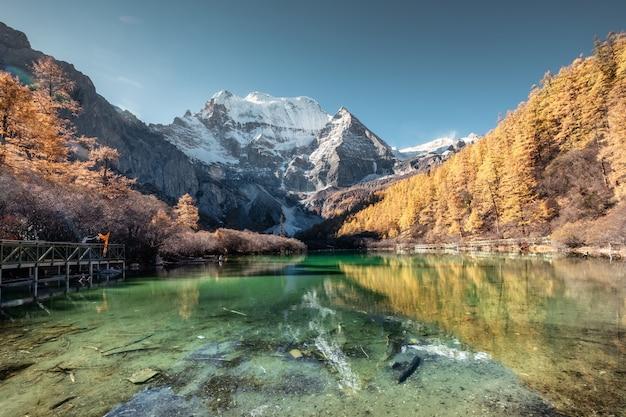 Reflet de la montagne xiannairi sur le lac émeraude avec forêt de pins dorés en automne