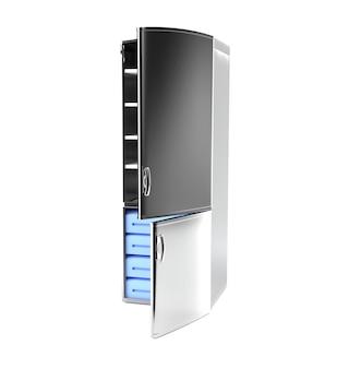 Réfrigérateur blanc isolé. rendu 3d