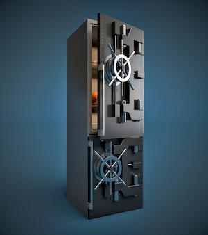 Réfrigérateur moderne avec porte sûre. concept de régime