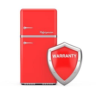 Réfrigérateur rouge rétro avec bouclier de garantie de protection en métal rouge sur fond blanc. rendu 3d