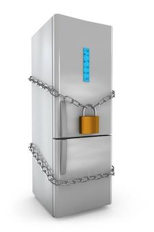 Réfrigérateur avec une serrure et une chaîne