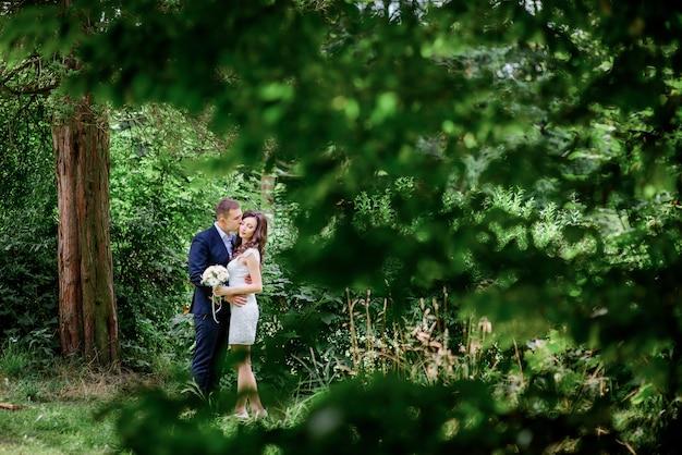 Regardez derrière les arbres au mariage couplant tendre tendre