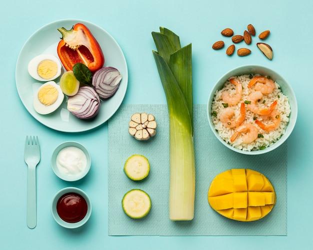Régime alimentaire de légumes et de poisson à plat