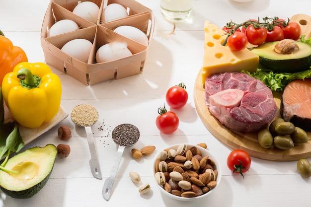 Régime cétogène faible en glucides - sélection d'aliments sur mur blanc