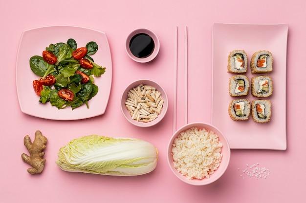 Régime flexitarien avec sushi plat lay