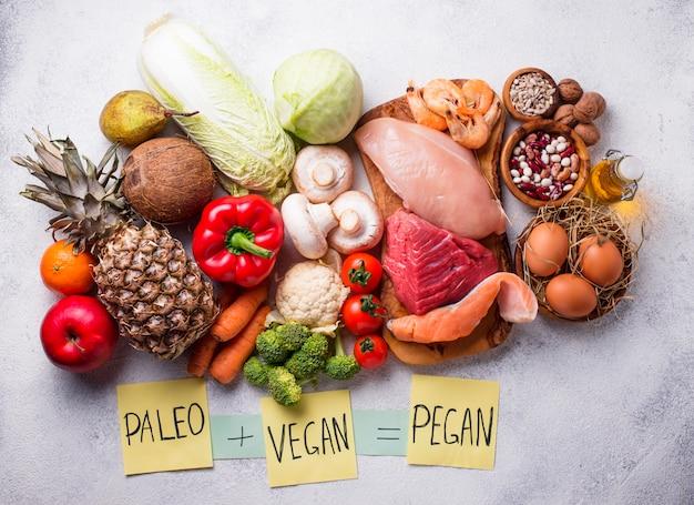 Régime de pegan. produits paléo et végétalien