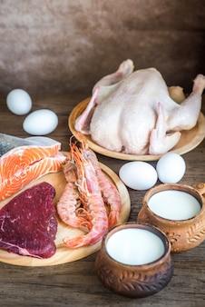 Régime protéiné: produits crus sur bois