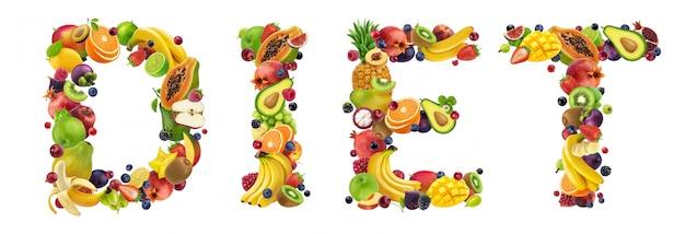 Régime word composé de différents fruits et baies